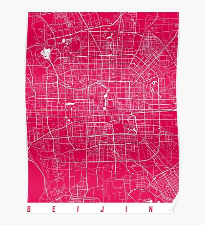 Beijing map raspberry Poster