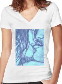 In the Dark She Bites My Lip- Blue Women's Fitted V-Neck T-Shirt