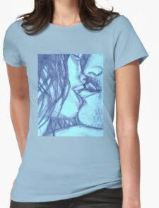 In the Dark She Bites My Lip- Blue Womens Fitted T-Shirt