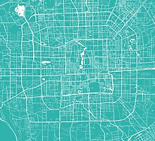 Beijing map turquoise by mapsart