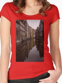 Amsterdam - Serene Fall Reflections Women's Fitted Scoop T-Shirt