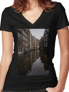 Amsterdam - Serene Fall Reflections Women's Fitted V-Neck T-Shirt