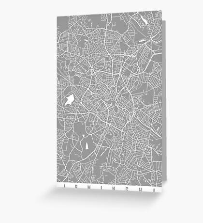 Birmingham map grey Greeting Card