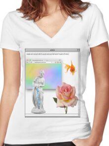 Rose vaporwave Aesthetics Women's Fitted V-Neck T-Shirt
