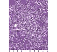 Birmingham map lilac Photographic Print