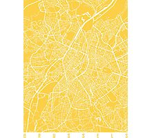 Brussels map yellow Photographic Print