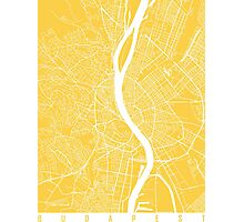 Budapest map yellow Photographic Print