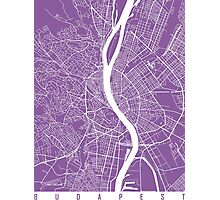 Budapest map lilac Photographic Print
