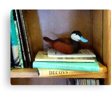 Duck Decoy on Bookshelf Canvas Print