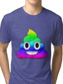 Rainbow Smiling Poop Emoji Tri-blend T-Shirt