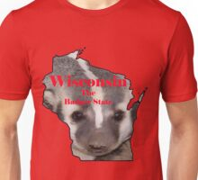 Wisconsin Map with Official State Nickname:  The Badger State Unisex T-Shirt