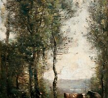 Wooded Landscape with Cows in a Clearing, Jean-Baptiste-Camille Corot (France, Paris,  by Adam Asar
