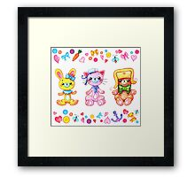 Cute set of animals for kids Framed Print