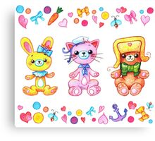Cute set of animals for kids Canvas Print