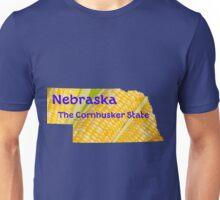 Nebraska Map with State Nickname:  The Cornhusker State Unisex T-Shirt