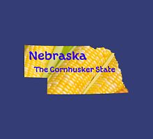 Nebraska Map with State Nickname:  The Cornhusker State Unisex T-Shirt