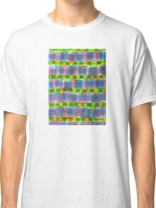 Purple Square Rows with Fluorescent Green Strips Classic T-Shirt