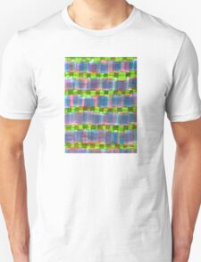 Purple Square Rows with Fluorescent Green Strips T-Shirt