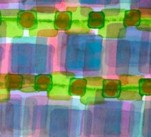 Purple Square Rows with Fluorescent Green Strips Sticker