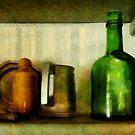 Pewter Mug and Green Bottle by Susan Savad