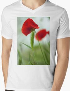 Red poppy  Mens V-Neck T-Shirt