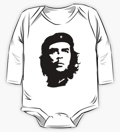 CHE, Che Guevara, Revolution, Marxist, Revolutionary, Cuba, Power to the people! Black on White One Piece - Long Sleeve