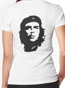 CHE, Che Guevara, Revolution, Marxist, Revolutionary, Cuba, Power to the people! Black on White Women's Fitted V-Neck T-Shirt