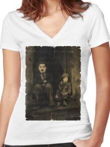 Charlie Chaplin and the Kid Old Style Women's Fitted V-Neck T-Shirt