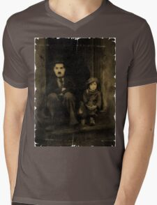 Charlie Chaplin and the Kid Old Style Mens V-Neck T-Shirt