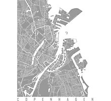 Copenhagen map grey Photographic Print