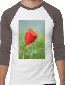 Wild red poppy Men's Baseball ¾ T-Shirt