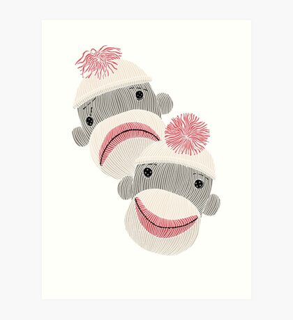 Tragedy and Comedy Sock Monkeys Art Print
