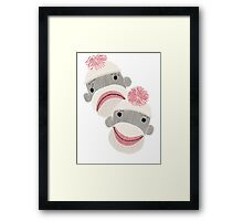 Tragedy and Comedy Sock Monkeys Framed Print