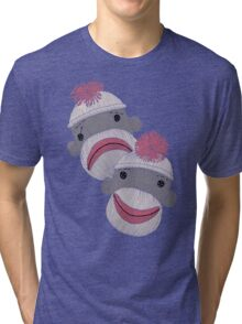 Tragedy and Comedy Sock Monkeys Tri-blend T-Shirt