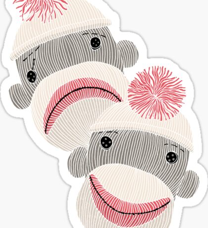 Tragedy and Comedy Sock Monkeys Sticker