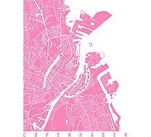 Copenhagen map pink Photographic Print
