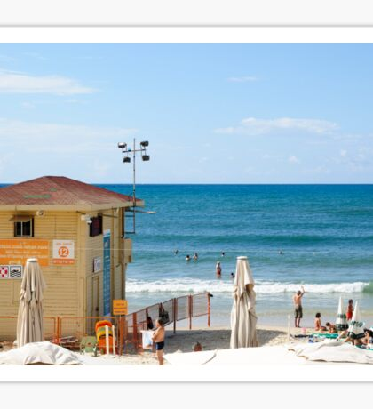 Sunny winter's day on Gordon Beach, Tel Aviv, Israel Sticker
