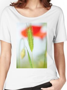 Grass and red poppy Women's Relaxed Fit T-Shirt