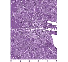 Dublin map lilac Photographic Print