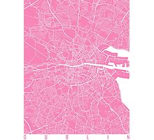 Dublin map pink Photographic Print
