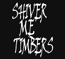 Shiver me timbers, Ye Owd Pirate! Bucaneers, White on Black Unisex T-Shirt