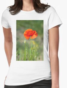 Green wild meadow and red poppy Womens Fitted T-Shirt