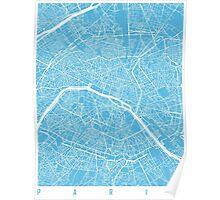 Paris map blue Poster