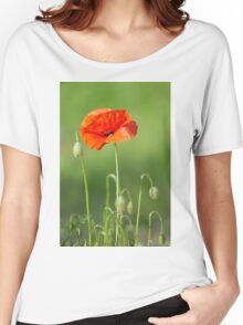 Red poppy flower Women's Relaxed Fit T-Shirt