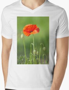 Red poppy flower Mens V-Neck T-Shirt