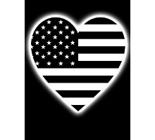 American Flag, BLACK Heart, Stars & Stripes, Pure & Simple, America, USA, on BLACK,  Photographic Print