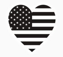 American Flag, BLACK Heart, Stars & Stripes, Pure & Simple, America, USA, on BLACK,  Kids Clothes