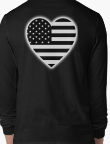 American Flag, BLACK Heart, Stars & Stripes, Pure & Simple, America, USA, on BLACK,  Long Sleeve T-Shirt