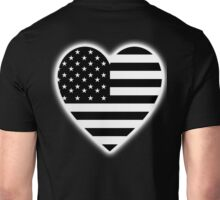 American Flag, BLACK Heart, Stars & Stripes, Pure & Simple, America, USA, on BLACK,  Unisex T-Shirt