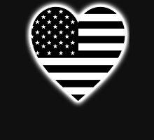 American Flag, BLACK Heart, Stars & Stripes, Pure & Simple, America, USA, on BLACK,  Unisex T-Shirt
